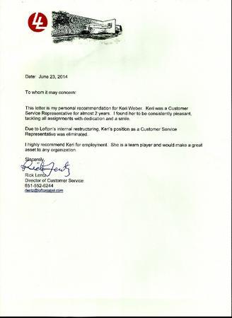 Lofton letter of recommendation from rick lentz cv