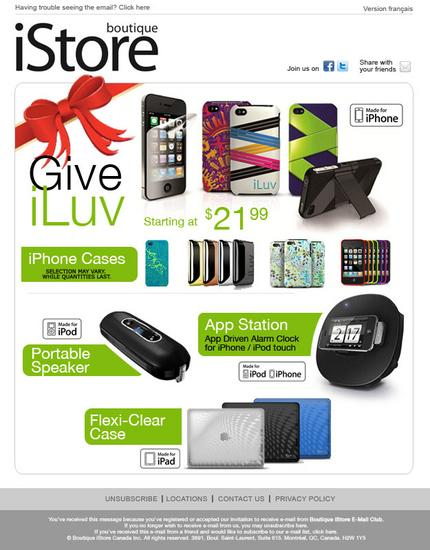 Boutique istore holiday email 2 cv
