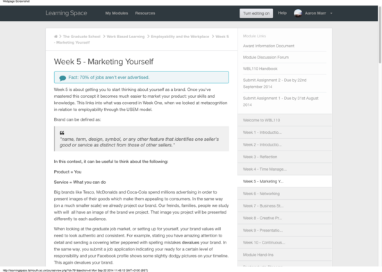 Course  employability and the workplace wbl110  untitled section  week 5   marketing yourself  1  cv