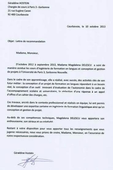 lettre de recommandation pour une thèse Magdalena Popa   Formatrice indépendante français langue étrangère  lettre de recommandation pour une thèse