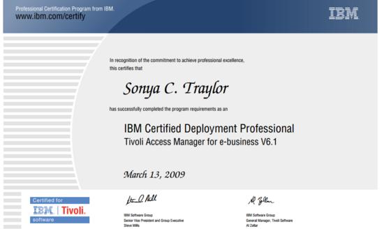 Ibm certification cv