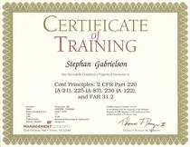 Cost principles training certificate cv