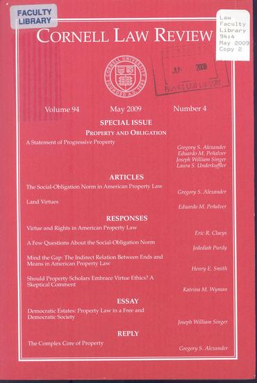 Cornell law review front cover   oliver wright editor thumb