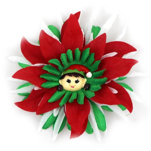 Elf poinsettia flower hair clip cv