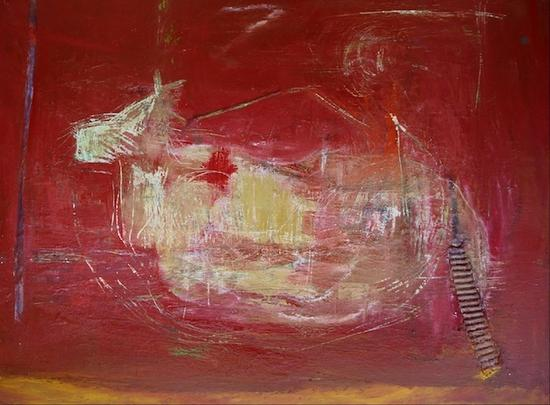 Rocking horse  oil and mixed media  32x40  2010 cv