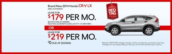 Brand new 2014 honda cr v lx red tag sales event cv