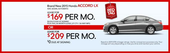 Brand new 2015 honda accord lx red tag sales event cv