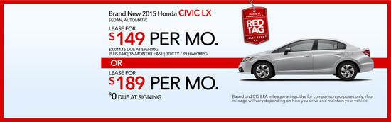 Brand new 2015 honda civic lx red tag sales event cv