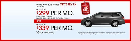 Brand new 2015 honda odyssey lx red tag sales event cv
