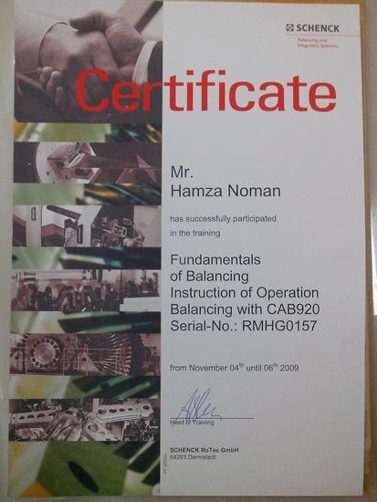 Balancing training certificate cv