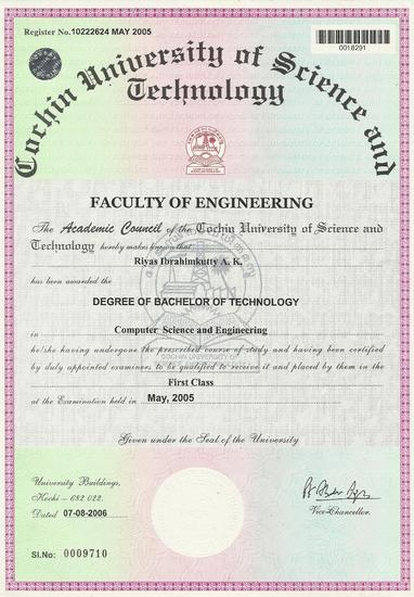 Riyas ibrahimkutty   btech engineering certificate cv