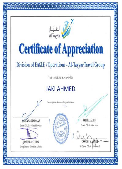 Altayyar apprciate certificate cv