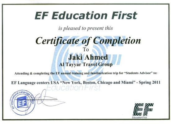 Ef fam trip certificate cv
