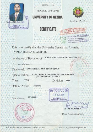 Bsc certificate 001 cv