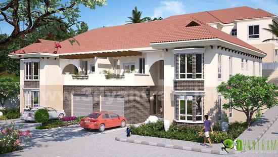 3d architectural exterior rendering desing studio cv