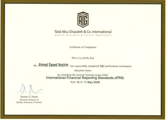 Certificate of completion ifrs course cv