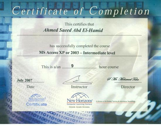 Certificate of completion access level 2 cv