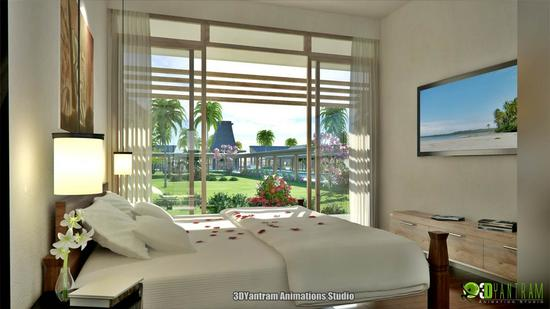 Bedroom interior design view cv