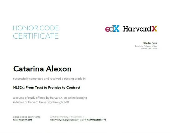 Harvard  certifikat cv
