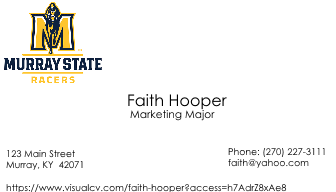 Faith business card cv