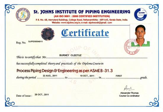 Certificate piping cv