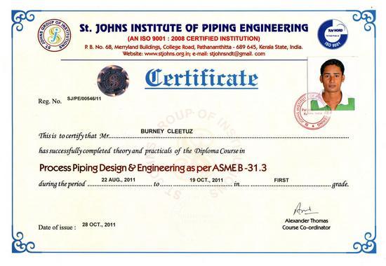 Certificate piping cv