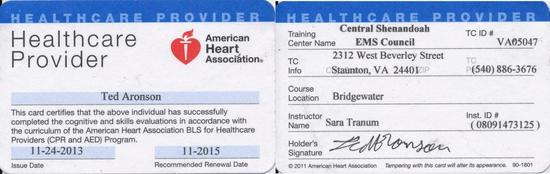 Aha healthcare provider bls cv