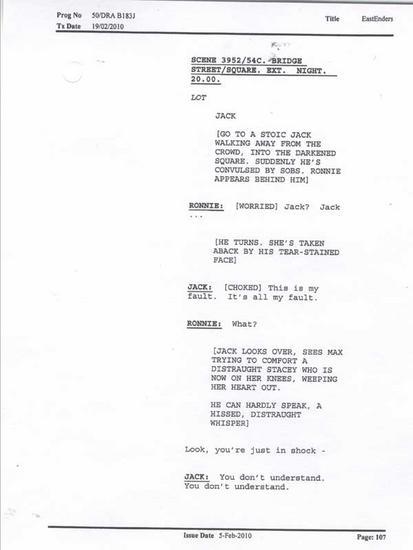 Eastenders script cv