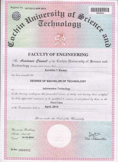 Karithkav nair degree certificate cv