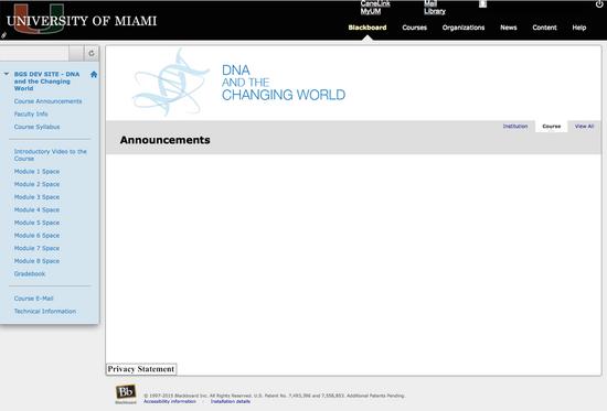 Umiami dna blackboard entrypage sample cv