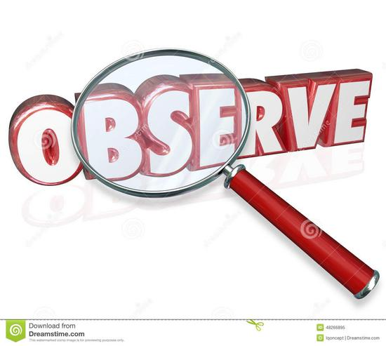 Observe d word magnifying glass examine inspect pay attention red letters under to illustrate need to details 48266895 thumb