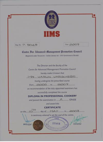 Diploma certificate cv