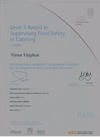 Level 3 award in supervising food safety cv