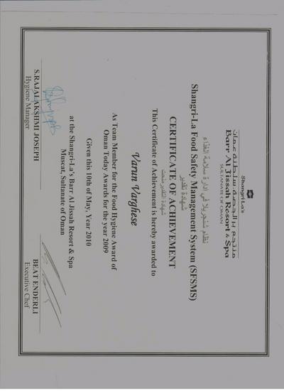 Food hygiene award cv