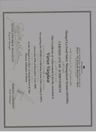 Shangrilas food safety manangement certificate  3 times cv