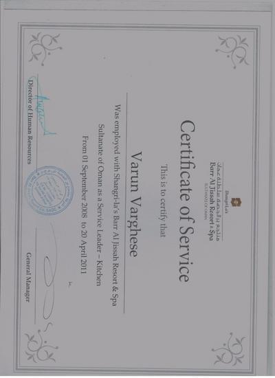 Certificate of service  shangrilas cv