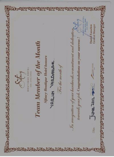 Sifawy  team member of the month certificate cv
