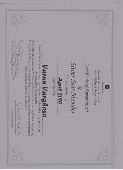 Silver star member award 3 times cv