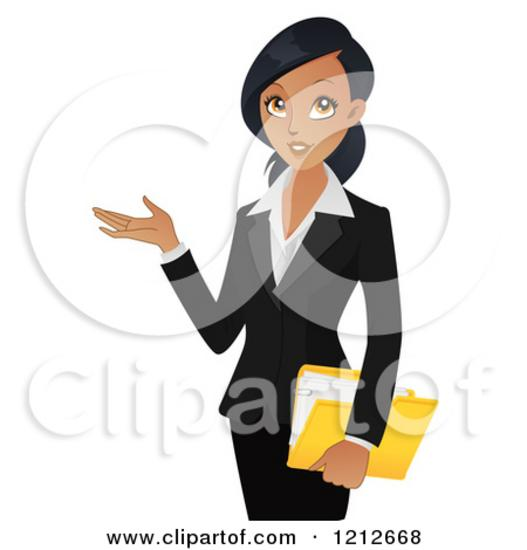 1212668 clipart of a professional black businesswoman holding a folder and presenting 2 royalty free vector illustration thumb