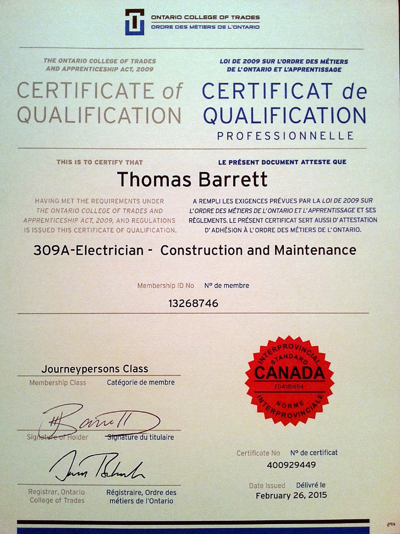Tom Barrett Journeyman Electrician VisualCV