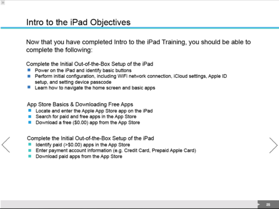 Ipad course objectives cv
