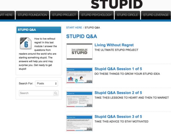 Stupid course page cv