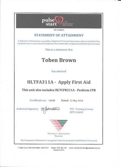 First aid certificate cv