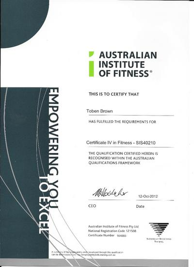 Certificate 4 in fitness cv