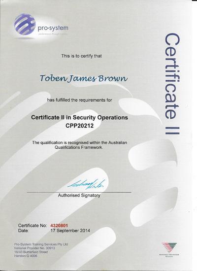 Security certificate 2 cv