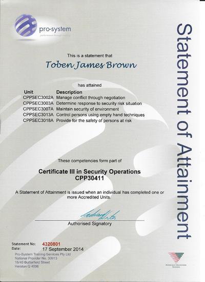 Security certificate 3 cv
