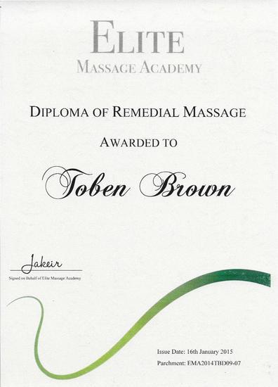 Diploma in massage cv