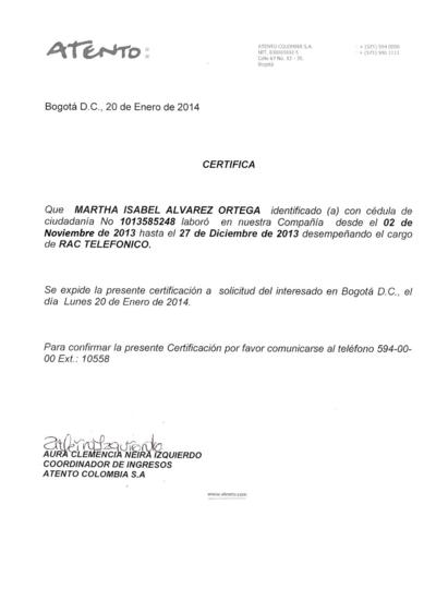 Certificado atento cv