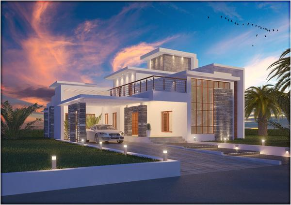 Contemporary villa   with displacement grass   approved 02 cv