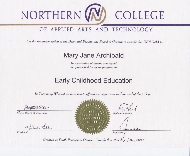 Early childhood certificate alberta mary jane archibald creemij designs visualcv 1betcityfo Images